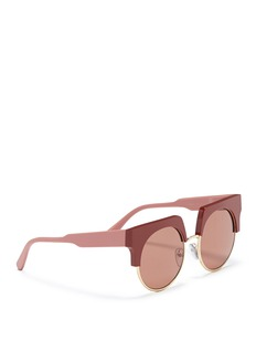 MARNI 'Graphic' colourblock brow bar acetate round sunglasses