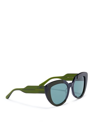Figure View - Click To Enlarge - Marni - 'Prisma' contrast acetate cat eye sunglasses