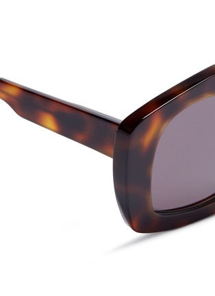 Detail View - Click To Enlarge - Marni - 'Edge' metal rim tortoiseshell acetate pentagon sunglasses