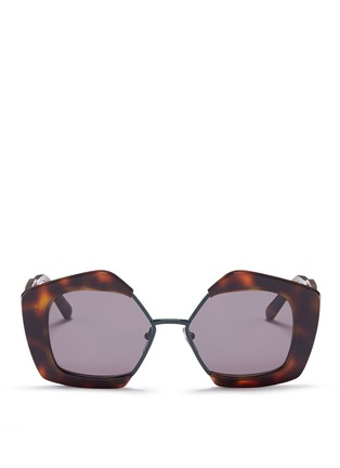 Main View - Click To Enlarge - Marni - 'Edge' metal rim tortoiseshell acetate pentagon sunglasses