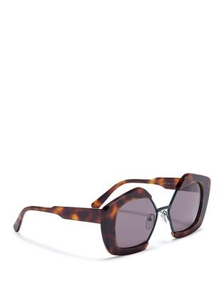 Figure View - Click To Enlarge - Marni - 'Edge' metal rim tortoiseshell acetate pentagon sunglasses