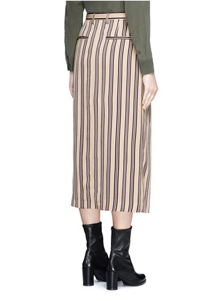 Back View - Click To Enlarge - Dries Van Noten - Front vent stripe skirt
