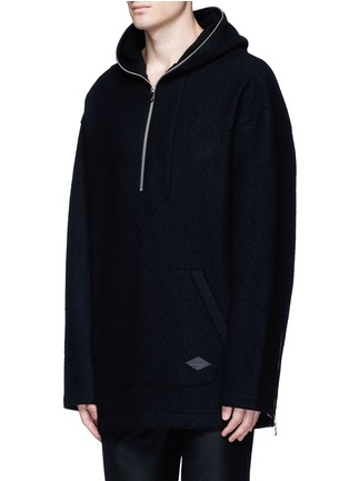 Front View - Click To Enlarge - rag & bone - 'Drexel' French terry patch wool hoodie