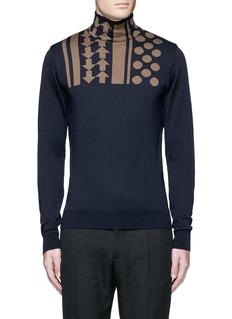 kolorArrow dot intarsia wool turtleneck sweater