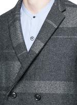 Metallic stripe double breasted coat