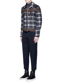 kolorLeopard flock print check plaid blouson jacket
