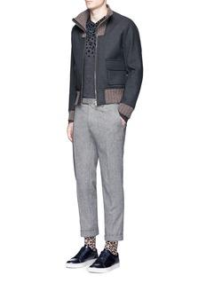 kolorLeopard velvet flock print V-neck sweater