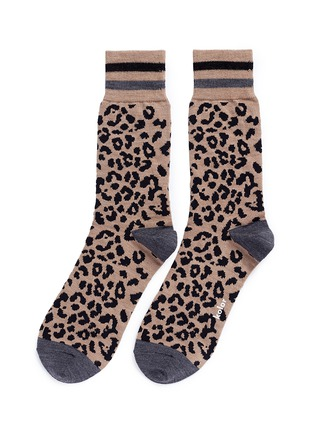 Main View - Click To Enlarge - kolor - Leopard intarsia wool socks