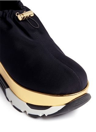 Detail View - Click To Enlarge - Marni - Tech fabric patent platform sneakers