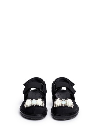 Front View - Click To Enlarge - Marni - 'Fussbett' jewelled techno sandals