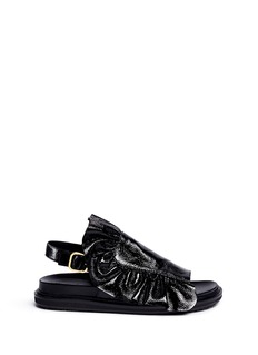 MARNI 'Fussbett' ruffle patent leather sandals