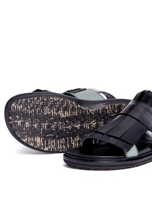 Detail View - Click To Enlarge - Marni - 'Fussbett' colourblock kiltie fringe leather sandals
