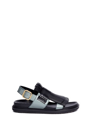 Main View - Click To Enlarge - Marni - 'Fussbett' colourblock kiltie fringe leather sandals