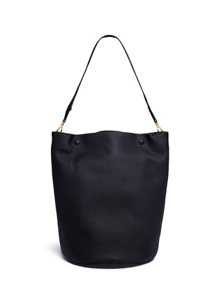 Back View - Click To Enlarge - Marni - Large pebbled leather bucket bag
