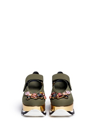 Front View - Click To Enlarge - Marni - Jewelled patent platform Mary Jane sneakers