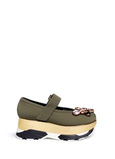 MarniJewelled patent platform Mary Jane sneakers