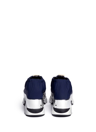 Back View - Click To Enlarge - Marni - Tech fabric patent platform sneakers