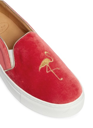 Detail View - Click To Enlarge - Bing Xu - 'TriBeCa' flamingo embroidery velvet skate slip-ons