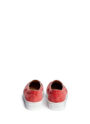 Back View - Click To Enlarge - Bing Xu - 'TriBeCa' flamingo embroidery velvet skate slip-ons