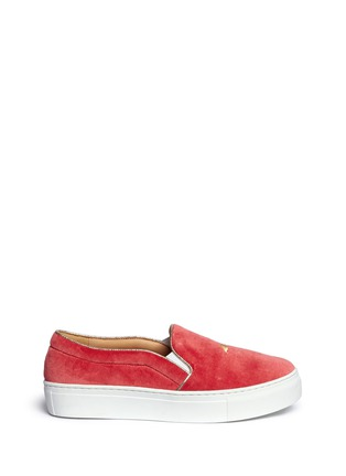 Main View - Click To Enlarge - Bing Xu - 'TriBeCa' flamingo embroidery velvet skate slip-ons