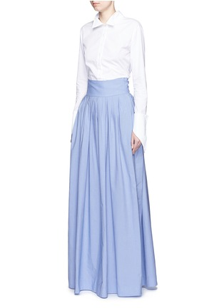 Figure View - Click To Enlarge - Rosie Assoulin - 'Morning After' cutout waist chambray maxi skirt