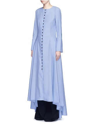 Front View - Click To Enlarge - Rosie Assoulin - 'Francisican' button down chambray maxi dress