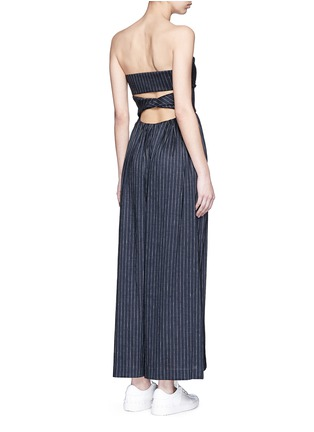 Back View - Click To Enlarge - Rosie Assoulin - 'Morning After' pinstripe cutout cotton jumpsuit