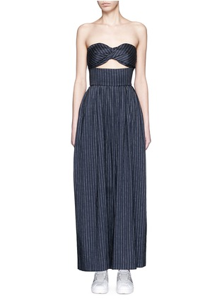 Main View - Click To Enlarge - Rosie Assoulin - 'Morning After' pinstripe cutout cotton jumpsuit