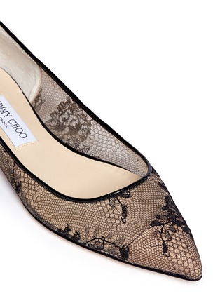 Detail View - Click To Enlarge - Jimmy Choo - 'Alina' floral lace skimmer flats