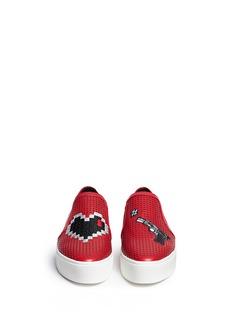 PEDDER RED'Danny' heart appliqué leather skate slip-ons