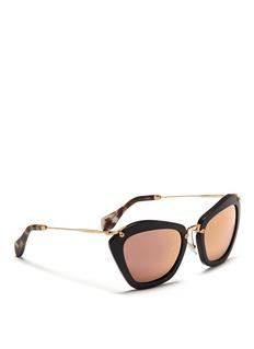 MIU MIU'Noir' matte acetate cat eye sunglasses