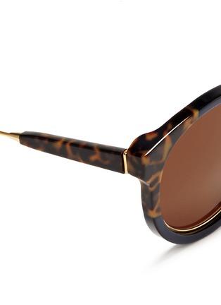 细节 - 点击放大 - SUPER - PANAMA中性款玳瑁拼色圆框太阳眼镜