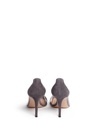 Back View - Click To Enlarge - Gianvito Rossi - 'Plexi' clear PVC leather suede pumps