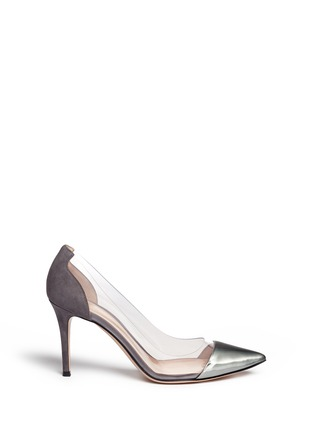 Main View - Click To Enlarge - Gianvito Rossi - 'Plexi' clear PVC leather suede pumps