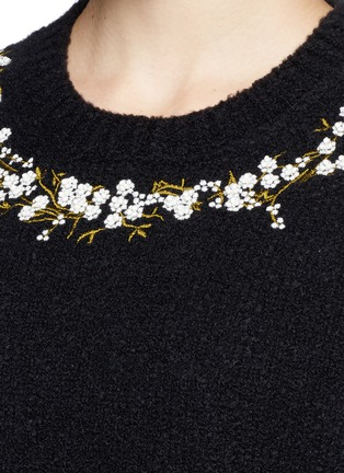 Detail View - Click To Enlarge - Givenchy - Floral embroidery wool-cashmere bouclé sweater
