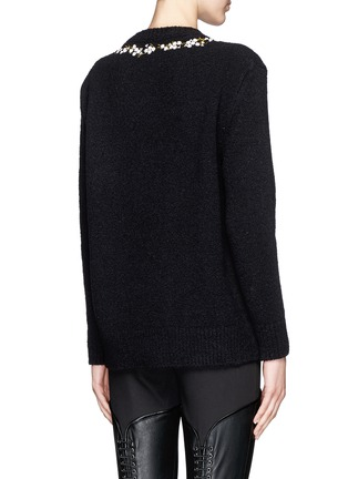 Back View - Click To Enlarge - Givenchy - Floral embroidery wool-cashmere bouclé sweater