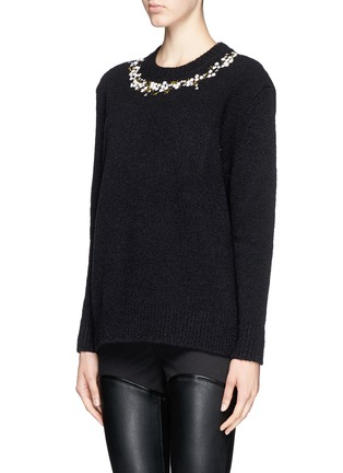 Front View - Click To Enlarge - Givenchy - Floral embroidery wool-cashmere bouclé sweater