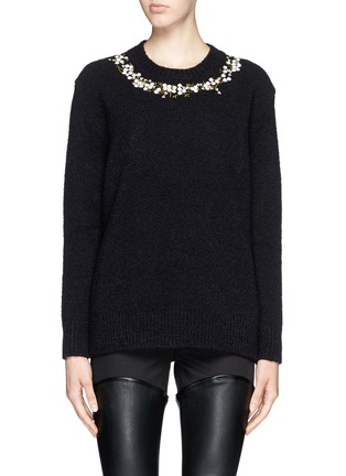 Main View - Click To Enlarge - Givenchy - Floral embroidery wool-cashmere bouclé sweater