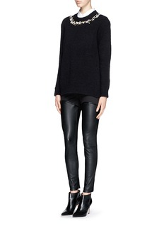 GIVENCHYFloral embroidery wool-cashmere bouclé sweater