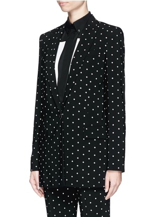 Front View - Click To Enlarge - Givenchy - Rubber cross print crepe long tailored jacket