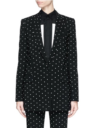 Main View - Click To Enlarge - Givenchy - Rubber cross print crepe long tailored jacket