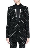 Rubber cross print crepe long tailored jacket