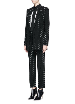 Figure View - Click To Enlarge - Givenchy - Rubber cross print crepe long tailored jacket