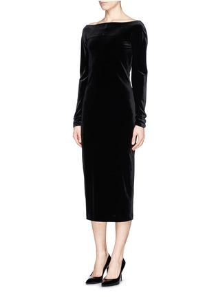 正面 -点击放大 - ARMANI COLLEZIONI - Bateau neck velvet dress