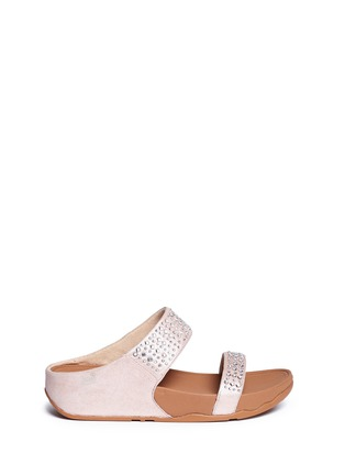 Main View - Click To Enlarge - Fitflop - 'Novy' strass glitter suede slide sandals