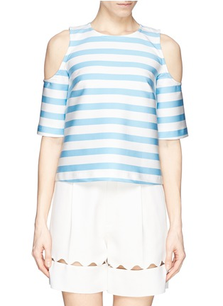 Main View - Click To Enlarge - TANYA TAYLOR - 'Iris' stripe neoprene cold shoulder top