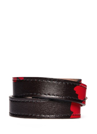 Back View - Click To Enlarge - Alexander McQueen - Skull loop double wrap lotus print leather bracelet