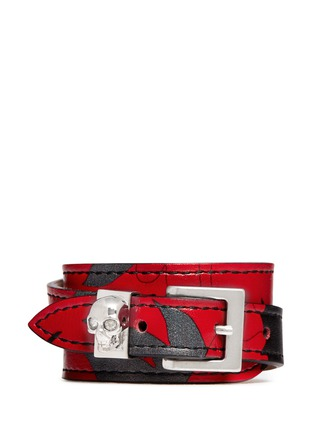 Main View - Click To Enlarge - Alexander McQueen - Skull loop double wrap lotus print leather bracelet