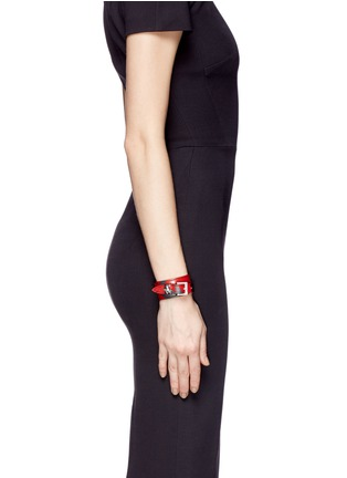 Figure View - Click To Enlarge - Alexander McQueen - Skull loop double wrap lotus print leather bracelet
