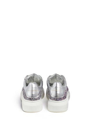 Back View - Click To Enlarge - Alexander McQueen - Chunky outsole coarse glitter metallic leather sneakers